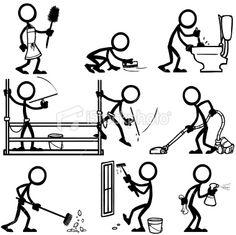 Stickfigure Cleaning Royalty Free Stock Vector Art Illustration