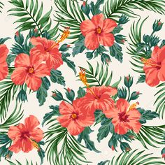40210498-Seamless-exotic-pattern-with-tropical-leaves-and-flowers-on-a-white-background-Hibiscus-palm-Vector--Stock-Vector.jpg (1300×1300)
