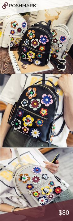 💖SALE💖Small flower backpack Small 3D flower backpacks  measurement 22x10x25cm. Polyester Bags Backpacks
