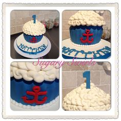 Nautical smash cake for birthday idea! Custom Birthday Cakes, Cake Birthday, Lake Party, 1st Birthday Parties, Birthday Ideas, Little Man, Cake Smash, First Birthdays, Boy Or Girl