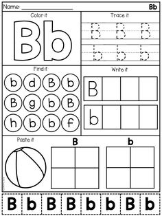 Letter B alphabet worksheet for kindergarten students. Students will practice the letters of the alphabet with these worksheets. Letter B Activities, Letter Worksheets For Preschool, Preschool Assessment, Preschool Writing, Tracing Worksheets, Preschool Letters, Preschool Printables, Kindergarten Worksheets, In Kindergarten