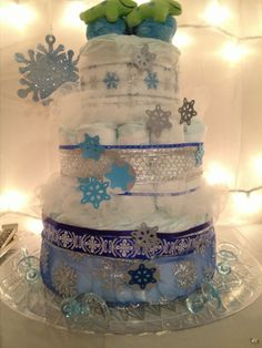 Diaper Cake For Winter Baby Shower | Baby Shower | Pinterest | Winter Baby  Showers, Diaper Cakes And Diapers
