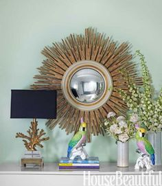In Real Life: A Vintage Vignette Calming paint colors Nina Campbell, Calming Paint Colors, Paint Colours, Vintage Vignettes, Green Color Schemes, Lets Go, Relaxing Places, Sunburst Mirror, Interiores Design