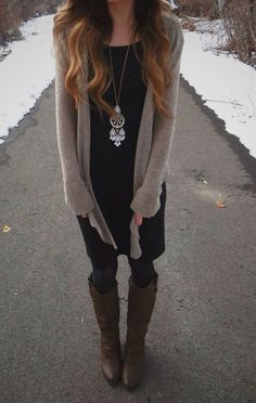 VISIT FOR MORE Fall outfit! Neutral long cardigan with a black dress leggings boots and a long necklace The post Fall outfit! Neutral long cardigan with a black dress leggings boots and a lon appeared first on Dress. Cardigan Long, Dress With Cardigan, Dress With Boots, Dresses With Leggings, The Dress, Dress Long, Legging Outfits, Fall Winter Outfits, Autumn Winter Fashion