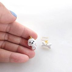 White Gold Dog and Bone Earrings Handmade Animal Clay