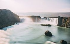Goðafoss is one of the largest waterfalls in Iceland. It is located in the MÜvatn district of North - Central Iceland at th