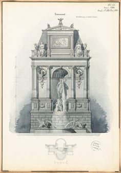 Título   Brunnenwand. Monatskonkurrenz Mai 1874 | Schellen, Carl  Brunnenwand. Monatskonkurrenz Mai 1874 | Schellen, Carl