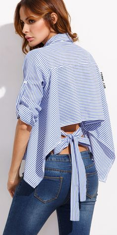 Blue Mixed Stripe Tie Back High Low Blouse