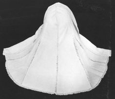 Although a few finely worked linen hoods survive in museum collections, they are very rarely seen in portraits of the late 16th and early 17th century. It is possible that they were outdoor and/or middle-class accessories and therefore seldom appear in Tudor and Jacobean portraiture which emphasises the formal dress of the aristocracy. This hood is very modestly adorned with insertion work (bobbin lace worked between two pieces of linen) and a bobbin lace edging,