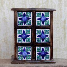 India Decorative Chest with 6 Ceramic Drawers - Mughal Stars | NOVICA