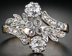 Edwardian twin-stone diamond ring. Via Diamonds in the Library.