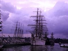 """July 4, 1976 : The American Bi-Centennial Celebration : NYC : The """"Esmeralda"""" (Chile) and the """"Nippon Maru"""" (Japan) at Pier 86, 46th Street. Germany's """"Gorch Fock"""" is anchored at right. ~~ I was there. The TALL SHIPS were a primary event of that weekend. ♥ ~~ Click on the link to access my full collection of Bi-Centennial pics on my Facebook page AND to read a bit about this once-in-my-lifetime occasion. Please """"Follow"""" or """"Friend"""" me on Facebook. Please """"Follow"""" me here on Pinterest, also…"""