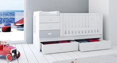 Cunas convertibles modernas para niños y niñas Alondra Baby Boy Birthday, Ideas Para, Cribs, Toddler Bed, Sweet Home, New Homes, Alondra, Bedroom, Storage