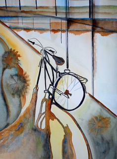 Lovely modern bicycle art for your wall! Find it at Etsy.