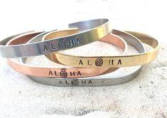 A personal favorite from my Etsy shop https://www.etsy.com/listing/471990017/aloha-bracelet-hawaii-jewelry-live-aloha