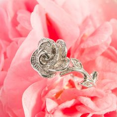 Flower style rose pave set diamonds hand carved by Mdelaluzjewelry. $876.33