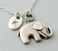 Elephant NecklacePersonalized elephant necklaceInitial by iceblues, $20.00