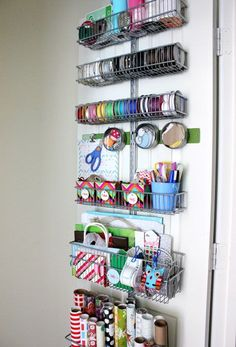 Organize wrapping supplies