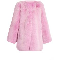 Gucci Collarless fur coat (1.178.940 RUB) ❤ liked on Polyvore featuring outerwear, coats, jackets, fur, gucci, pink, gucci coat, collarless coat, fur coat and pink coat