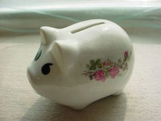 Vintage Piggy Bank Mean Crabby Pig 3 by 4 inch White with Pink Roses #Unbranded