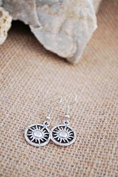 Sun earrings silver tone earrings hippie style boho by Estibela
