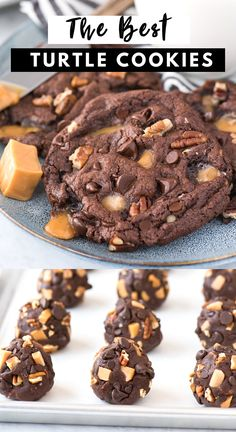 These insanely delicious turtle cookies start with a chocolate batter and are loaded with caramel pieces, pecans, and chocolate chips. Chocolate caramel cookies are soft Chocolate Caramel Cookies, Chocolate Turtles, Chocolate Chips, Caramel Chocolate Chip Cookies, Caramel Brownies, Chocolate Cookie Recipes, Cookie Desserts, Easy Desserts, Delicious Desserts