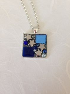 Mosaic stained glass pendant necklace silver Van Gogh mosaic tile, cobalt blue stained glass, ultramarine blue silver glass pearl beads