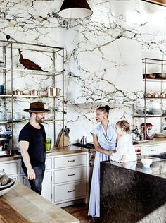 Luxury Kitchen Inside the Old-World Venice Beach Home of Denise Vasi and Anthony Mandler via - Actress Denise Vasi and director Anthony Mandler take us inside their striking Venice Beach home with the marble kitchen of your dreams. Home Decor Kitchen, Interior Design Kitchen, Kitchen Living, Living Rooms, Decorating Kitchen, Interior Modern, Modern Exterior, Luxury Kitchens, Home Kitchens