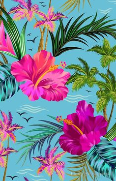 'Hello Hawaii, a stylish retro aloha pattern.' Art Print by Elena Belokrinitski Flor Iphone Wallpaper, Flower Wallpaper, Screen Wallpaper, Wallpaper Backgrounds, Tropical Wallpaper, Summer Wallpaper, Tropical Flowers, Hibiscus, Tropical Pattern