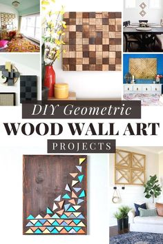 Ideas for DIY Geometric Wall Art // Here are 10 fun DIY projects to bring some modern geometric flair to your walls! They are made using wood to create a geometric design with triangles and chevron. These projects are easy and look great! #geometricart #diywallart #geometricwallart