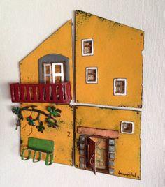 Yellow house with green bench. 21.5 x 19 cm. Janne Pond. http://mysecretpond.com