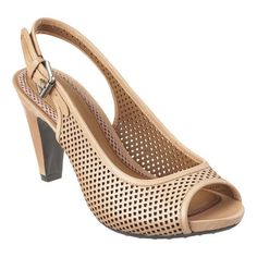 """Easy Spirit's newest member of the Anti-Gravity collection. This open toe slingback pump features perforated leather detailing. It has a flexible outsole that offers comfort and traction.  A 3"""" heel sits on a 1/2"""" base (equivalent to a 2 1/2 inch heel)."""