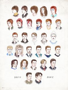 Time May Change Me II Art Print - The many looks of David Bowie over the years as seen through the eyes of illustrator Helen Green.