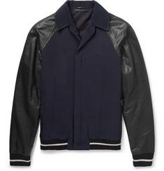 LanvinLeather and Twill Panelled Bomber Jacket