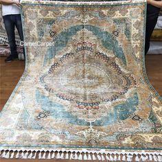 Large Blue Area Living Room Silk Persian Rug by Camelcarpet