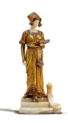 Dominique Alonzo (French) Woman with a book on stairs, early century Signed on verso: D. Book Sculpture, Antique Shops, Wonders Of The World, 19th Century, Art Nouveau, Ivory, Bronze, Statue, Antiques