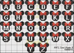 "Cross Stitch Delicate Corner: Charts Cross Stitch ""Monograms Michey and Minnie"" Mais Hama Beads Patterns, Loom Patterns, Hama Beads Design, Beading Patterns, Embroidery Patterns, Stitch Patterns, Cross Stitch Letters, Cross Stitch Charts, Cross Stitch Designs"