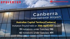 Australian Captial Territory invitation round held on 30th Apr'21 has invited 19 skilled applicants under Subclass 190 and 42 skilled applicants under Subclass 491. To know more about Immigrating to Australia, Contact us at +91 7207 111 222 or WhatsApp at +91 7702 555 555