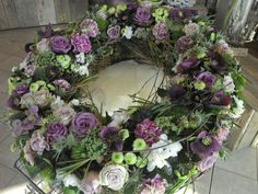 Which Wedding Website To Use Key: 6449336670 Purple Flower Arrangements, Funeral Flower Arrangements, Funeral Flowers, Purple Flowers, Casket Sprays, Funeral Tributes, Flora Design, Sympathy Flowers, Wreaths For Front Door