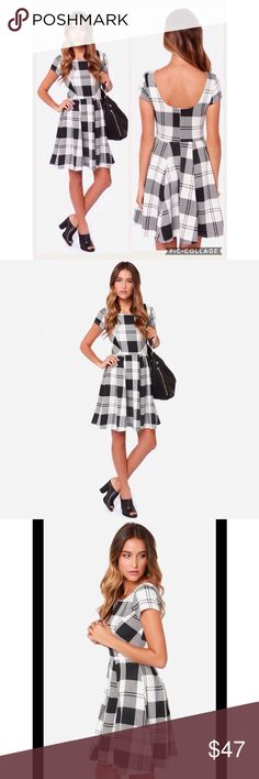 Chess Queen Black and Ivory Checkered Dress Cute dress for work or play!; New without tags, never worn Lulu's Dresses