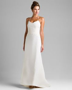 Ann Taylor Ivory Silk Taffeta Halter Wedding Dress