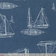 Sailing Boats Outline Linen Look Cotton - cotton fabric Fabric Patterns, Print Patterns, Fabulous Fabrics, Fabric Shop, Haberdashery, Needle And Thread, Outline, Boats, Nautical