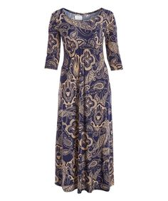 Take a look at this Navy & Crème Paisley Front-Ruched Maxi Dress - Plus today!