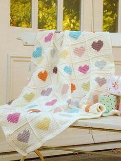 Crochet heart squares
