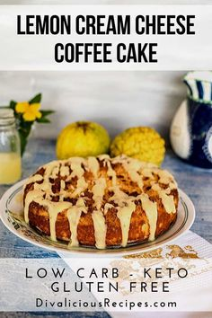 A light low carb coffee cake with lemon has a cream cheese layer topped with a crumble. A light low carb coffee cake with lemon has a cream cheese layer topped with a crumble. Low Carb Sweets, Low Carb Desserts, Low Carb Recipes, Real Food Recipes, Dessert Recipes, Diabetic Deserts, Banting Recipes, Cupcake Recipes, Healthy Desserts