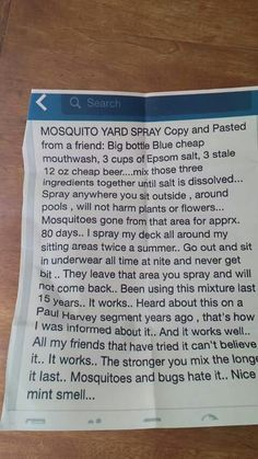 Homemade mosquito yard spray
