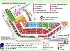 Map of Chatuchak Weekend Market, Bangkok, Thailand... literally thousands of shops selling everything under the sun... from shoes and tshirts/jeans to household furniture and appliances, dried foods, fishes and bugs and restaurants and coffee shops