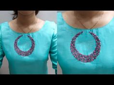 Churidhar Neck Designs, Churidhar Designs, Salwar Neck Designs, Kurta Neck Design, Dress Neck Designs, Designs For Dresses, Embroidery On Kurtis, Hand Embroidery Dress, Embroidery On Clothes