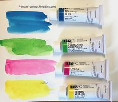 "Holbein watercolor paints, 15ml tubes, called ""juice colors"" by Tom Lynch, to buy click image #VintageVenturesShop #Etsy #art #artsupplies #artist #Holbein #watercolor #watercolorpaints #paintset #painting"