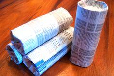 Homade firestarters, Dryer lint stuffed in toilet paper tubes.